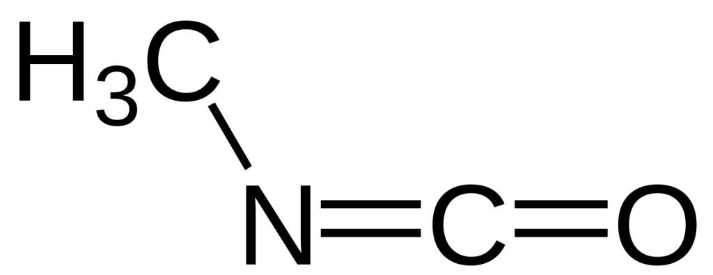 Chemical structure of methyl isocyanate (MIC)
