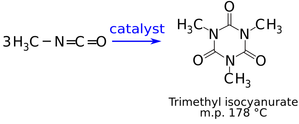 Chemical reaction depicting the formation of trimethyl isocyanurate from methyl isocyanate.
