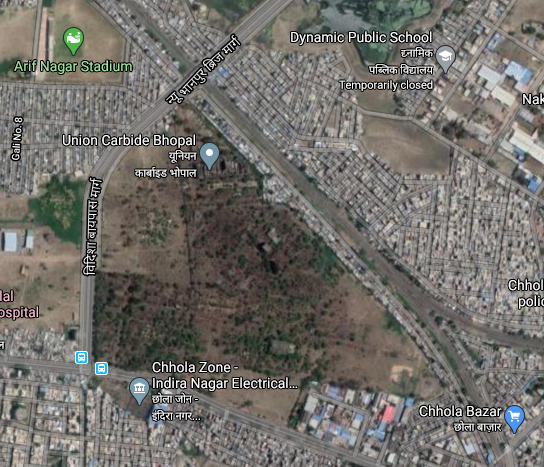 A satellite view of the Union Carbide India Limited's abandoned factory site in Bhopal.